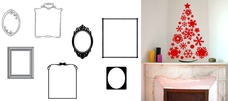 D corez vos vitrines de no l avec des stickers design for Cadres decoration interieur