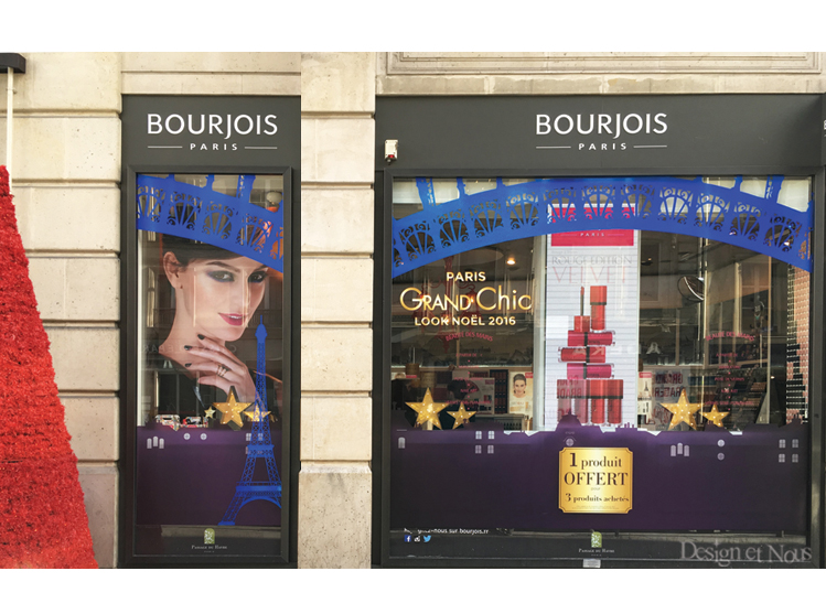 BOURJOIS DECORATION DE VITRINE DE NOEL MAGASIN VITROPHANIES MERCHANDISING DESIGN ET NOUS