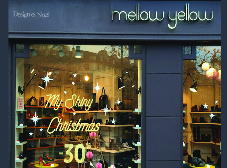 ELLOW YELLOW STICKERS DECO DEVANTURE MAGASIN MODE IDMEE NOEL DESIGN ET NOUS