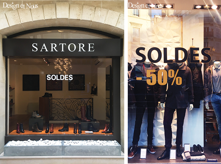 SOLDES SARTORE DECORATION VITRINE PROMOTION STICKER VITROPHANIE