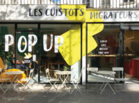 Sticker restaurant adhésif calicot cafe restaurant vitrine devanture commerce lettrage lettres