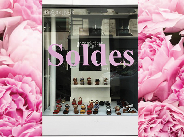 VITROPHANIE VITRINE SOLDES MODE MAROQUINERIE PROMOTION LETTRAGE